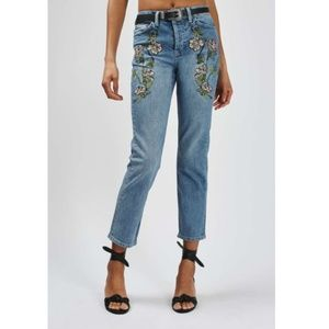 Topshop Moto Embroidered Floral High Rise Jeans